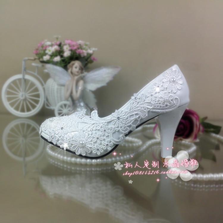 white wedding shoes lace rhinestone bridal female high heels platform shoes flower pearl shoes women pumps large size 41-42(China (Mainland))