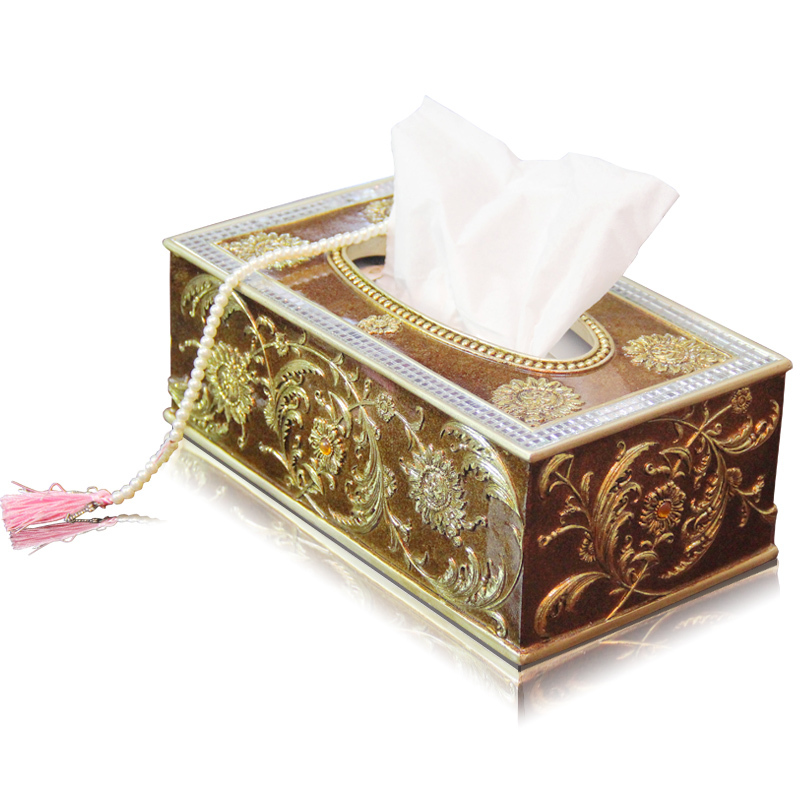 EC DAILY Home Decorations American retro resin pumping tray upscale living room European-style luxury napkin box tissue boxes D(China (Mainland))