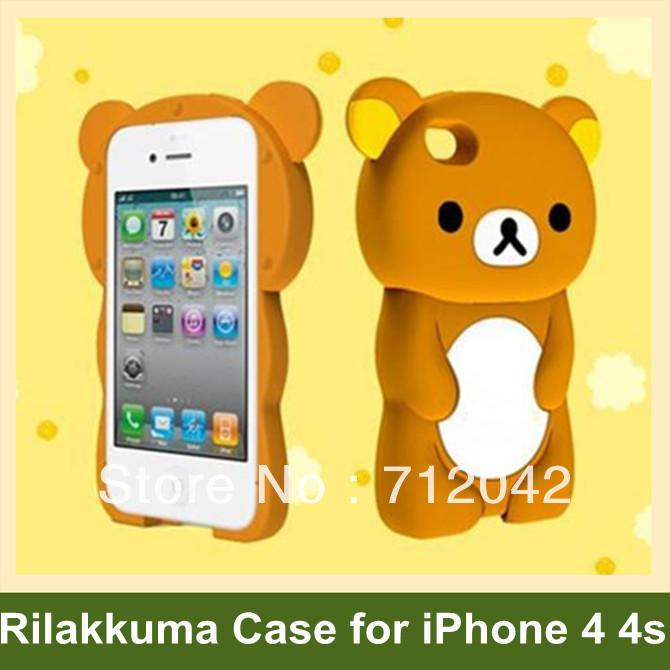 Cute 3D Rilakkuma Pattern Case for iPhone 4 4s Bear Pattern Cover Case for iPhone 4 4s 10pcs/lot Wholesale Free Shipping(China (Mainland))