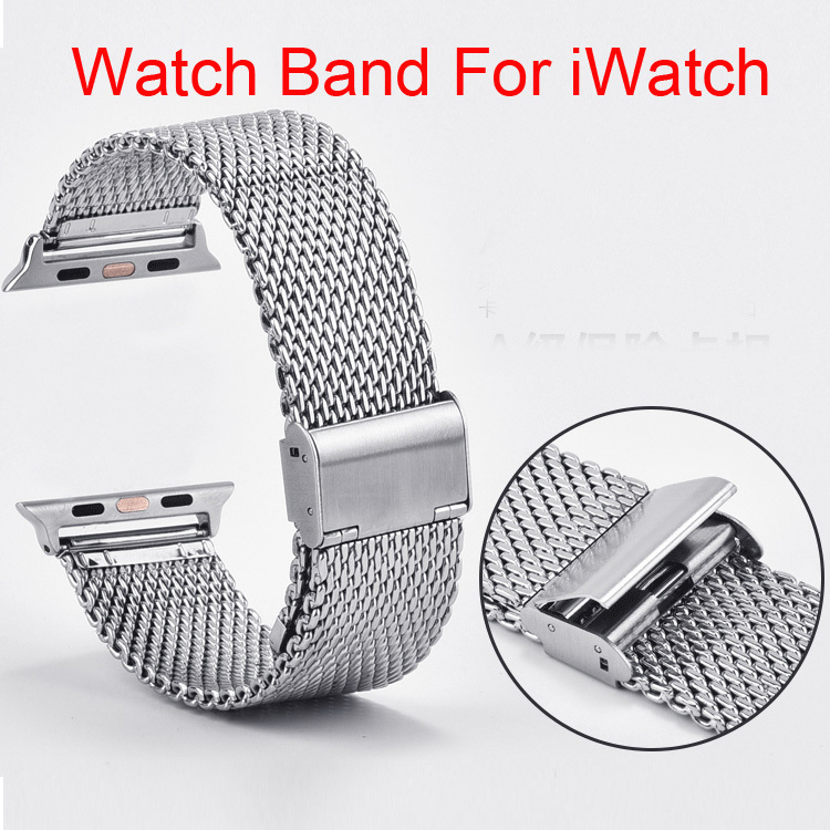 Stainless Steel Milanese Wrist Watchband + Watch Band Connection Adapter for Apple Watch iWatch 38mm 42mm(China (Mainland))