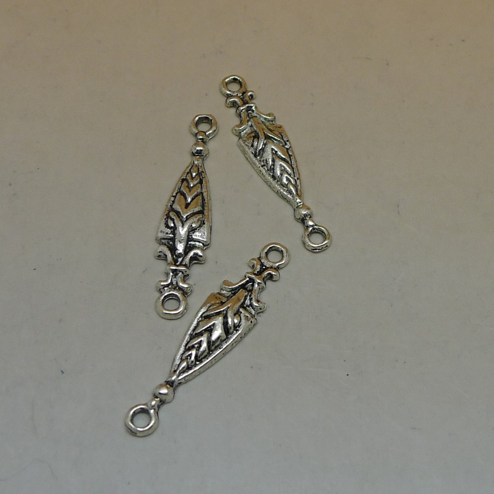 free shipping antique silver planted filigree 2 holes