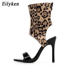 Eilyken 2020 yeni sonbahar leopar baskı fermuarlı kadın sandalet Peep Toe Hollow Out seksi kadın pompaları sandalet çizme(China)