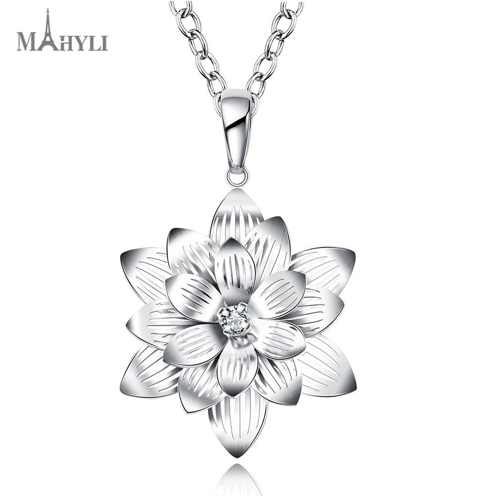 MAHYLI 925 silver lotus flower Pendant white silver choker Necklace For women Men Women Stainless Steel wedding Jewelry(China (Mainland))