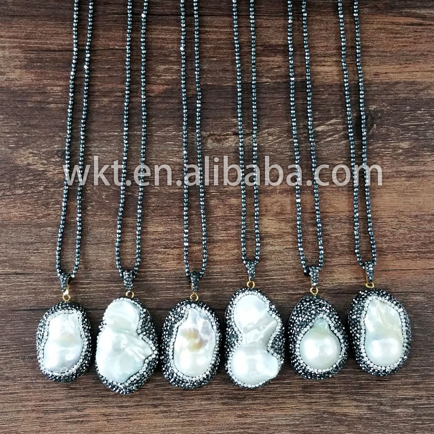 Wholesale natrual MOP necklace with crystal beads around, long black gallstone beads pearl necklace<br><br>Aliexpress