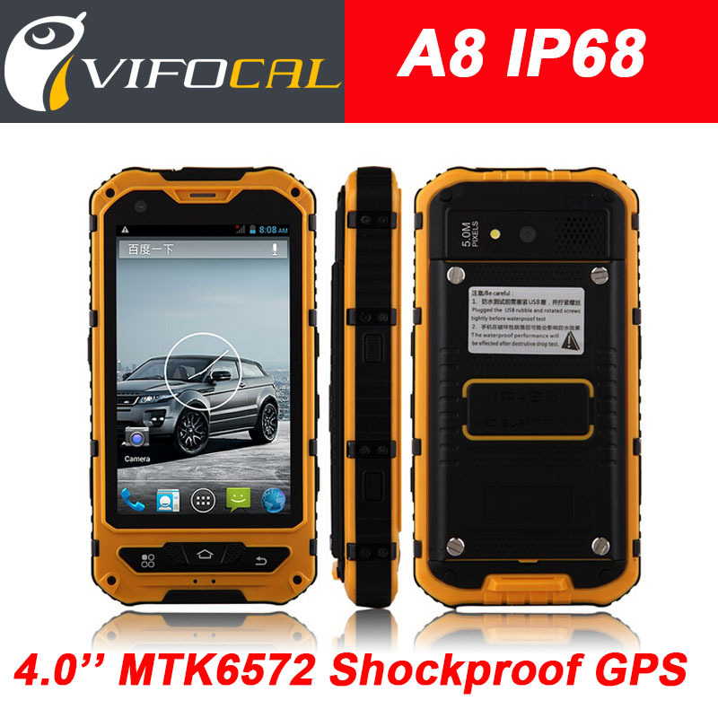 Original A8 IP68 Waterproof Shockproof Rugged Phone MTK6572 Dual Core 4.0'' Gorilla Glass Android 4.2 4GB 3G GPS 3000mAh 5.0MP(China (Mainland))