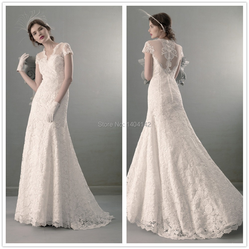Beautifu v neck cap sleeves wedding dresses 2014 see for See through lace wedding dress