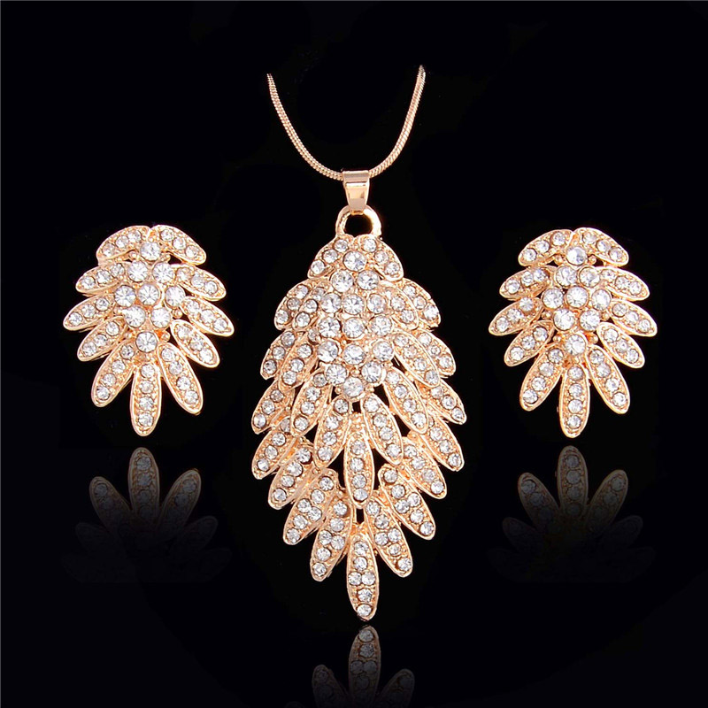 African Jewelry Sets Fine Wedding Gold Plated Crystal Necklace Set Party Women Fashion Bridal stud Earrings Accessories(China (Mainland))