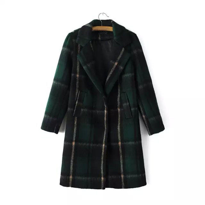 Women Wool Coat Plaid Patchwork Full Sleeve V-neck Wide-waisted Long Coats Jackets 50