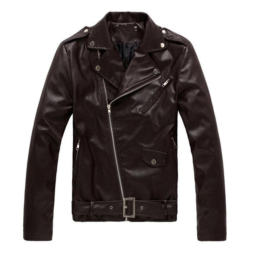 free shipping 2017new spring quality mens pu jacket fashion casual Oblique zipper slim fit autumn leather jacket men size S-3XL(China (Mainland))