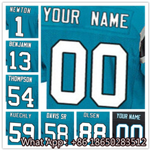 Men's #1 Cam #13 Kelvin #54 Shaq #58 Thomas #59 Luke #88 Greg White Blue Black Football Jersey 100% Stitched with Customized(China (Mainland))