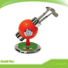 Creative Souvenir Mini Golf ball Pen Holder with Clock and three golf pens with packing box(China (Mainland))