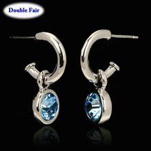 DWE206 Blue Crystal 18K Platinum Plated Earring For Women  Austrian Crystal  Wholesale()