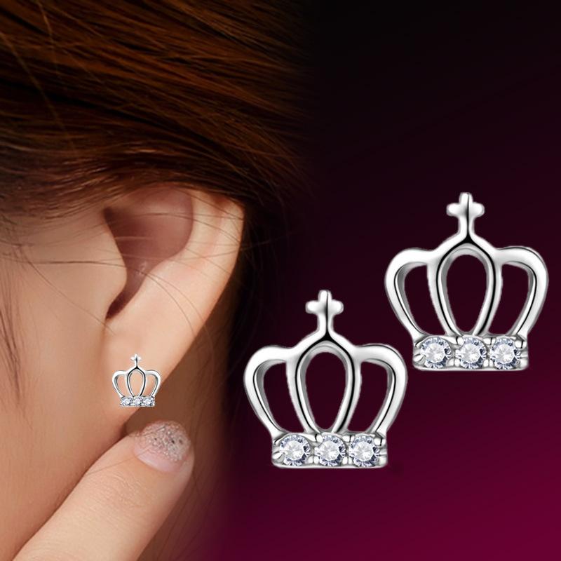 Fashion 925 Silver Jewelry Crown Earrings 925 Earrings 925 Sterling Silver Earrings 2015 Jewelry(China (Mainland))