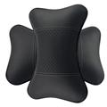 Car Neck Pillow High Quality Genuine Leather Auto Car Interior Headrest Neck Pillows Black BeigeA pair