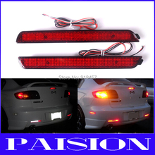 LY009-1 Red Lens LED Bumper Reflector For Mazdaspeed3 Mazda3 Axela 2004-2009 Add-on Rear Brake taillight (China (Mainland))