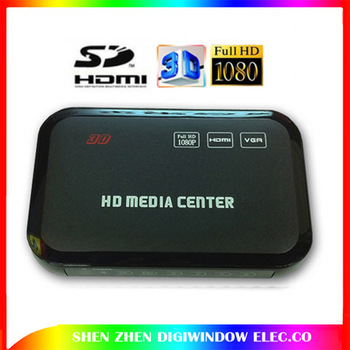 Upgraded version High Quality 3D USB Full HD 1080P HDD Media Player HDMI VGA MKV H.264 SD with HDMI Cable Free Shipping