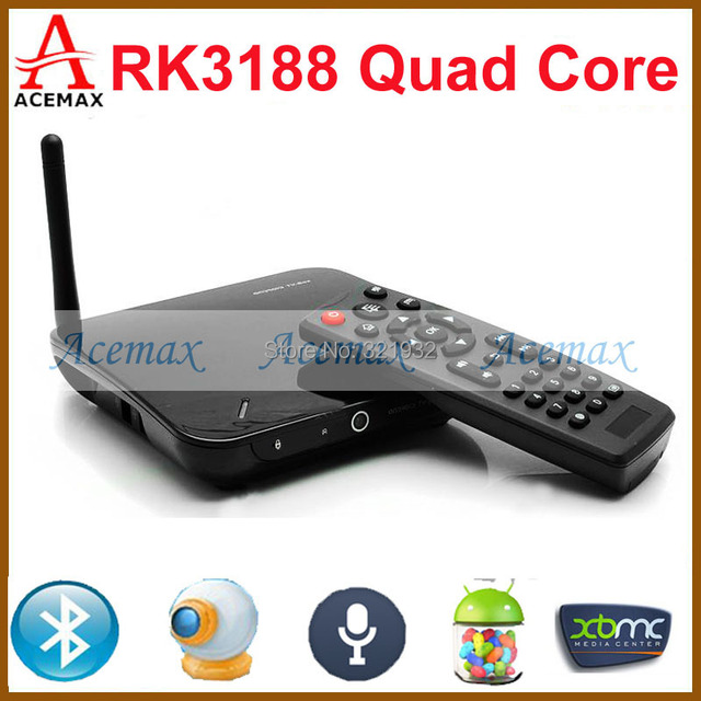 1pc Original CS968 Android 4.4 Kitkat Quad Core TV Box XBMC Preinstalled  Web Cam Mic RK3188 2G RAM 8G ROM WiFi Remote Control