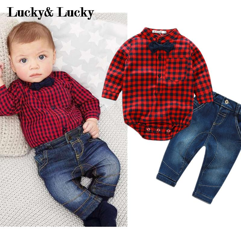 2016 new red plaid rompers shirts+jeans baby boys clothes bebe clothing set(China (Mainland))