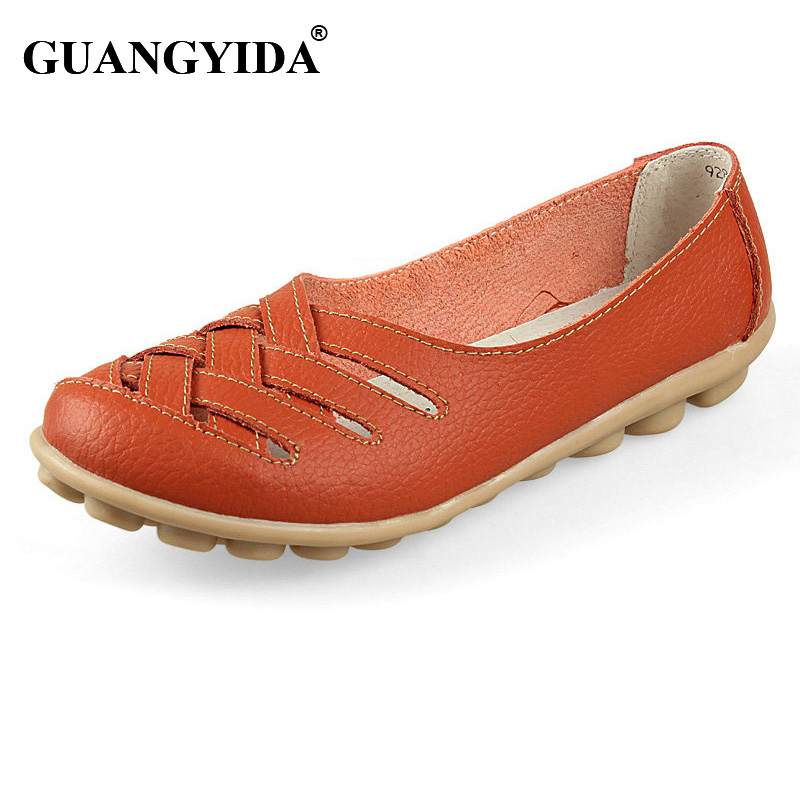 Women Sandals Summer Shoe 2017 New Female Fashion Genuine Leather Hollow Out Nurses Working Cow Muscle Gladiator Flats Shoes
