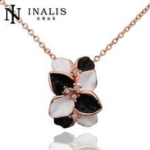 N636 Wholesale Wedding Band Women Necklace Flower Gold Plated Austrian Crystal Pendant Necklace Jewlery Vintage Statement collar