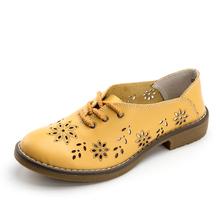 WeiDeng Donne del Cuoio Genuino Appartamenti Casual Scarpe Lace Up Per Il Tempo Libero Mocassini Sapatos Femininos Moda Sapatilhas Oro Argento(China)
