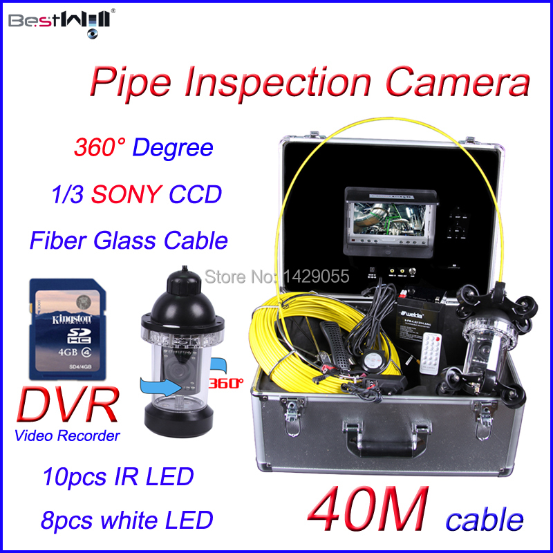 FREE Shipping 40M 360 degree camera Sewer Pipe Inspection Camera with DVR 600 TVL with 7'' Digital LCD Screen Fiber Glass Cable(China (Mainland))