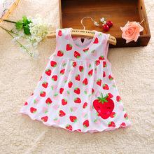 2016 new Cute Baby Girl Dress Cotton Dot Striped Slip Dress pear flower Children font b