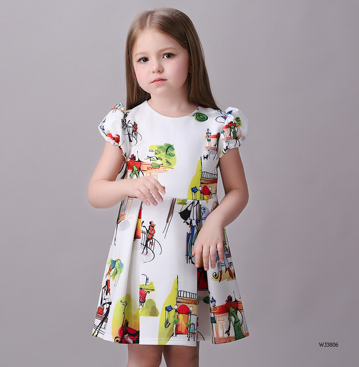 Wholesale 2016 new arrivals summer children girls fashion dress cotton good quality printing printing size100-140cm WJ3806(China (Mainland))