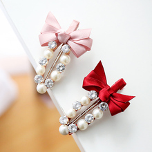 Buy M MISM 2017 Cute Ribbon Bow Pearl Barrettes Headwear Women Girl Hairpins Hair Jewelry Diamond Hair Clips Accessories for $1.31 in AliExpress store