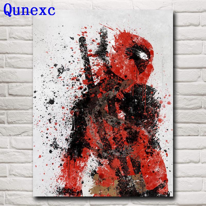 Qunexc- Deadpool Wade Wilson USA Superheroes Comic Movie Art Silk Poster Print Home Decor Painting 12x16 18X24 24x32 Inch Free S(China (Mainland))