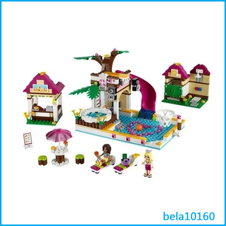 Bela 10160 Friends Seris Heart lake City Pool Building Block Sets DIY toys compatible lego