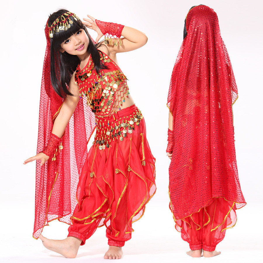 Hot selling! Belly Dance Performance Costume India Indian Kids Bollywood - Nelly Fashion Store store