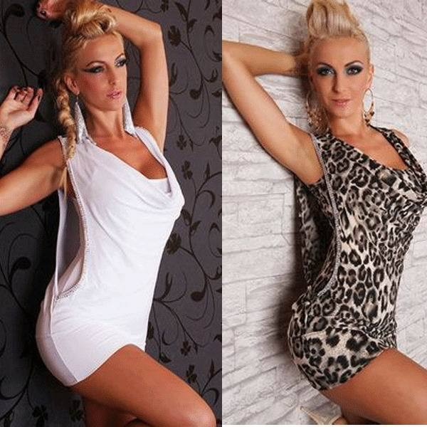 free shipping 2014 Hot Sale Sexy White Mini Dress Rhinestone Wet Look Club Dress 2 colors 6S2163 Clubbing dress sexy clubwear(China (Mainland))