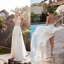Best Selling Halter Backless Chiffon Casamento Wedding Dresses Gowns Vestido De Noiva Floor Length Long Wedding Dress(China (Mainland))