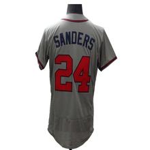 2016 New Fabric Flexbase Version #24 Deion Sanders #44 Hank Aaron Jersey Color Gray Red White Heat-sealed Tagless Jerseys(China (Mainland))