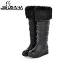 New arrival 2016 big size 35 42 women snow boots thick bottom slip on platform warm