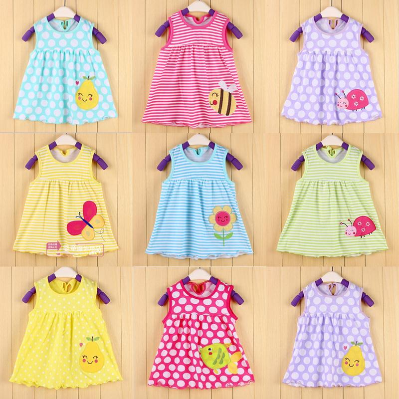 Summer Cute Baby Girl Dress Cotton Polka Dot Striped Slip Dress butterfuly bow Children Kids Clothing Princess 0-24Months dress(China (Mainland))