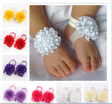 Retail Newborn Toddler flower barefoot sandals baby satin flower footwear for Photography props 10color pick Drop shipping(China (Mainland))