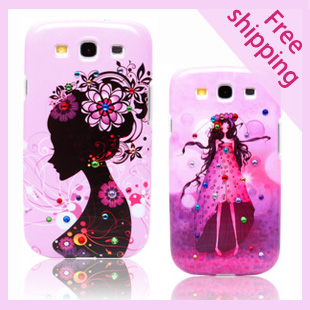 Urban beauty fashion diamond phone shell case for Samsung Galaxy S3 SIII i9300 Luxury illustrator shell i9308 cover()