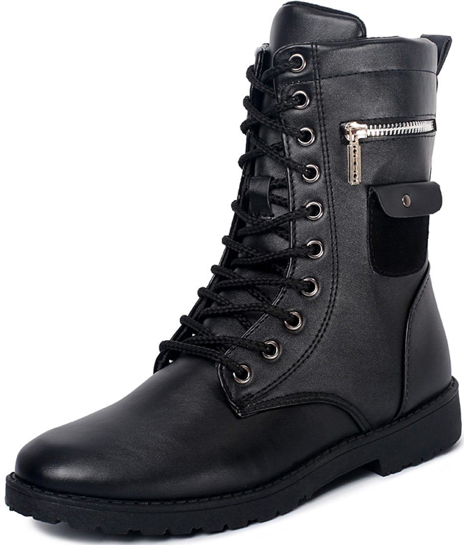 Y-s winter new lace PU leather boots mens shoes black martin men High-Top flat botas adults footwear motorcycle