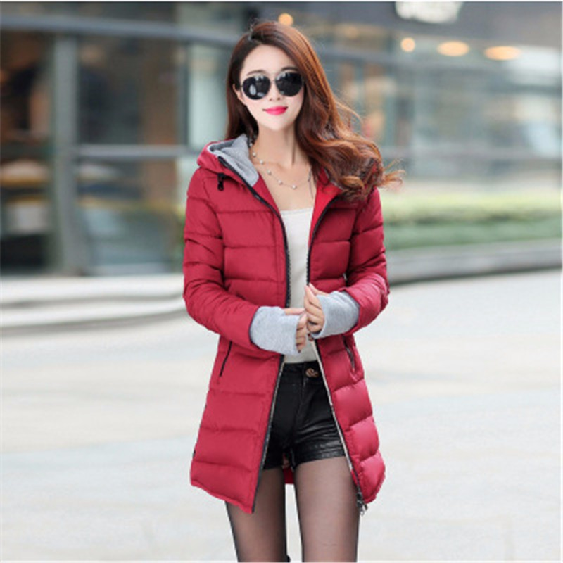 Women's Jacket Winter 2017 New Medium-Long Cotton Blue Parka Plus Size Coat Slim Ladies Casual Pink Clothing Hot Sale YY144