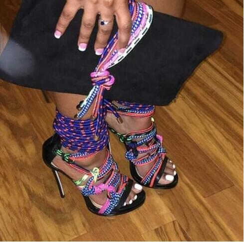 2016 summer new designer colorful string high heels shoes woman sexy open toe cut-outs gladiator sandals lace-up - Deluxe Brand 100% store