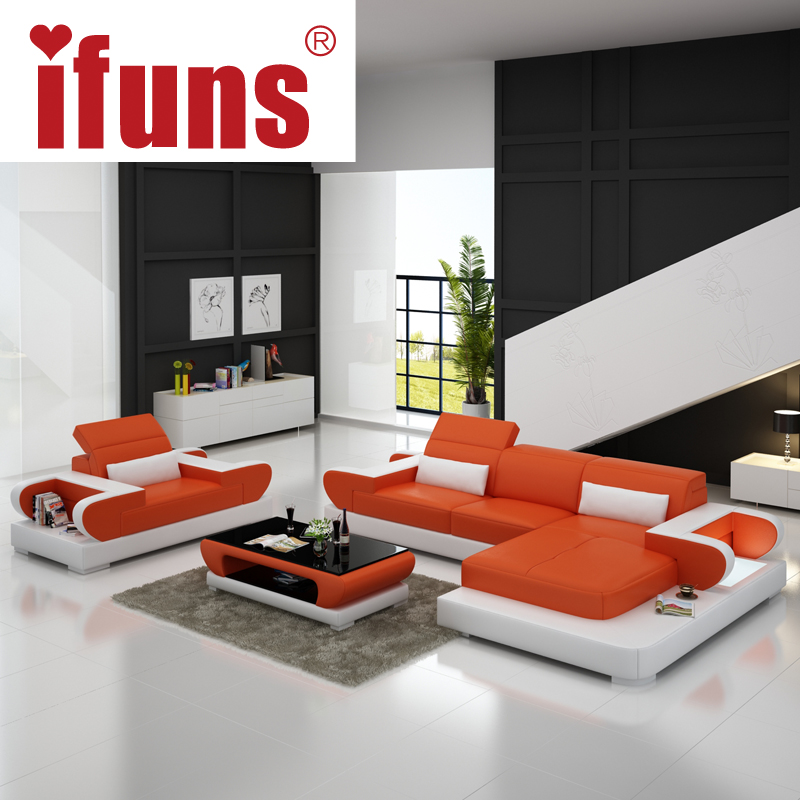 IFUNS Sofas for living room large corner sofa modern design l shaped sectional sofa genuine leather luxury sofa sets (fr)(China (Mainland))