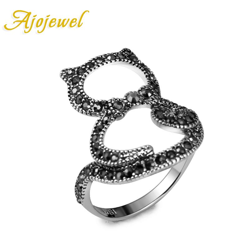 Ajojewel Brand Fashion Vintage Cute 18K White Gold Plated Pave Black CZ Cat Ring Women US Size 5-8.5(China (Mainland))