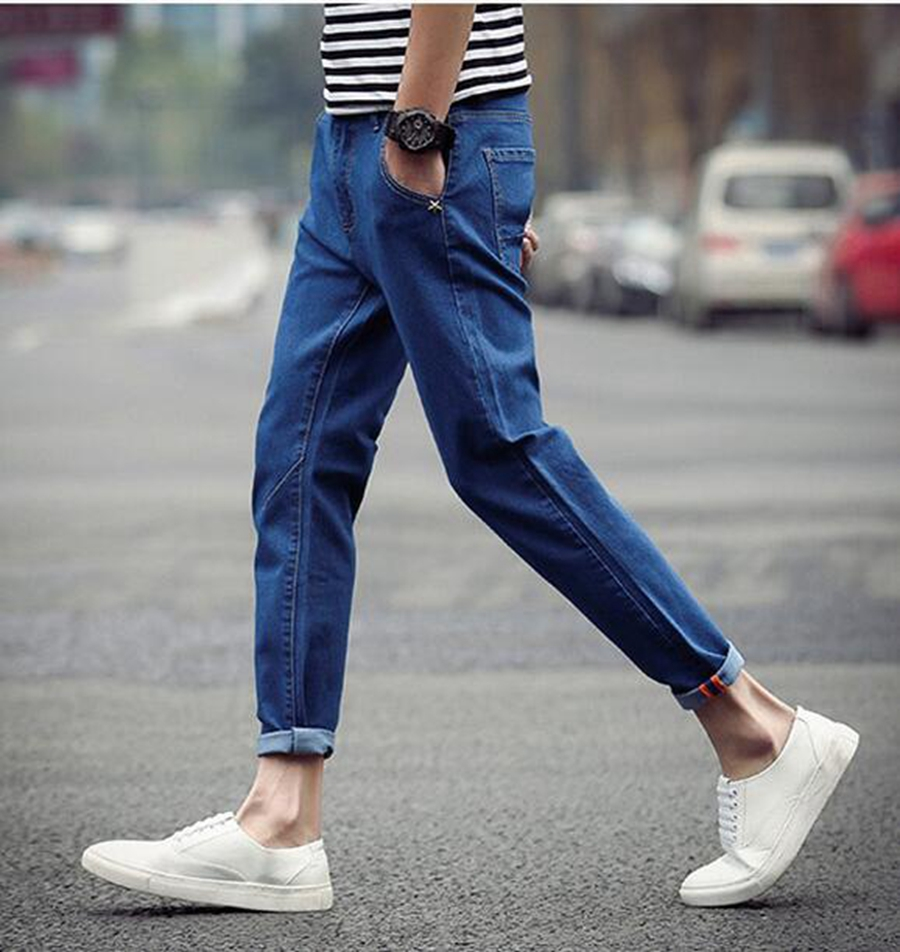 Men in the summer in Europe and the han edition washed denim pure color restoring ancient ways is 9 minutes of pants / 29-42