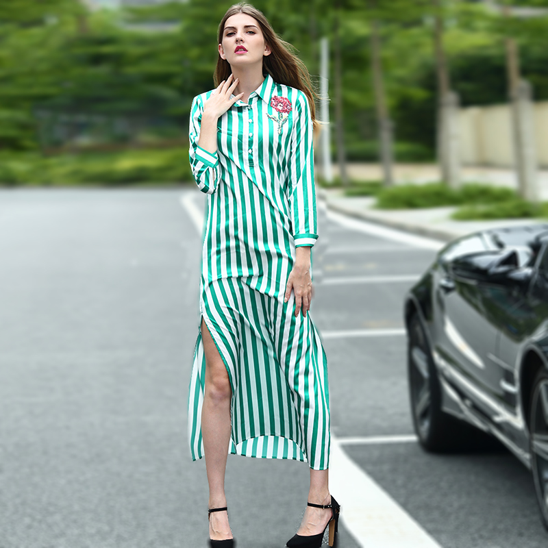 Striped Dress 2016 Summer Novelty Turn-down Collar Long Sleeve Rose Embroidery High Street Mid-Calf Loose Slits Button Dress(China (Mainland))