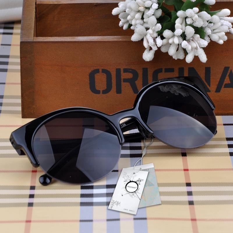 2015 Men Women Retro Cat Eye Semi-Rim Round Sunglasses Stylish