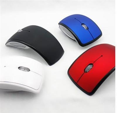 Free Shipping Mini USB 2.4Ghz Snap-in Transceiver Optical Foldable Folding Arc Wireless Mouse for PC Laptop Computer(China (Mainland))
