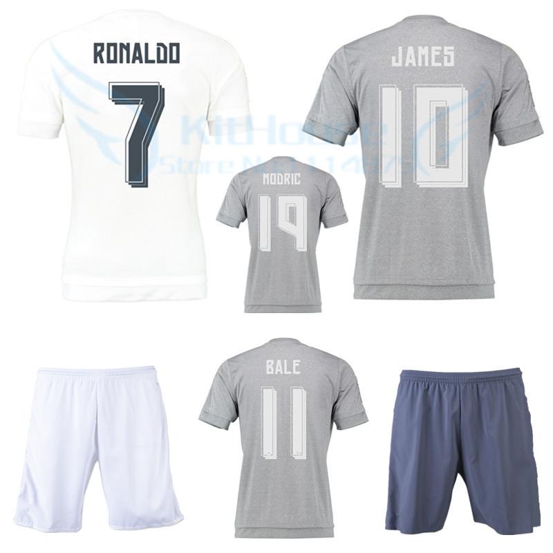 15 16 La Liga soccer jersey+short KROOS RONALDO BALE home white football shirt BENZEMA MODRIC JAMES ISCO 2016 away gray kit set(China (Mainland))