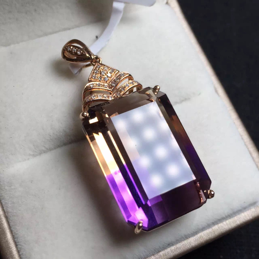 16.8*24mm 29ct fine jewelry 18K gold natural Bolivia ametrine pendant necklace